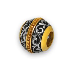 Бусина «Лилия» серебряная с позолотой