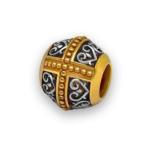 Бусина «София» серебряная с позолотой